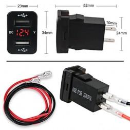 USB разъем c вольтметром врезной для Toyota CAU47