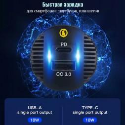 USB разъем с вольтметром и быстрой зарядкой врезной CAU52