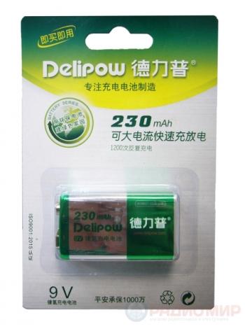 Аккумулятор 6F22 Крона DELIPOW 230mAh