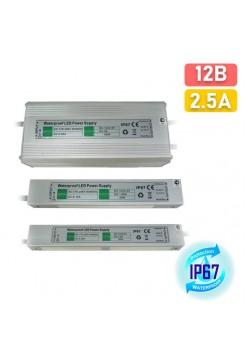 12В 2.5А блок питания IP67 Ecola