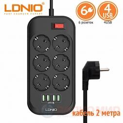 Сетевой фильтр 2 метра 10A LDNIO SE6403